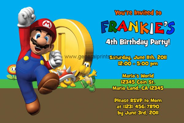 Super Mario Bros Birthday Invitations – Super Mario Bros Party Invitations