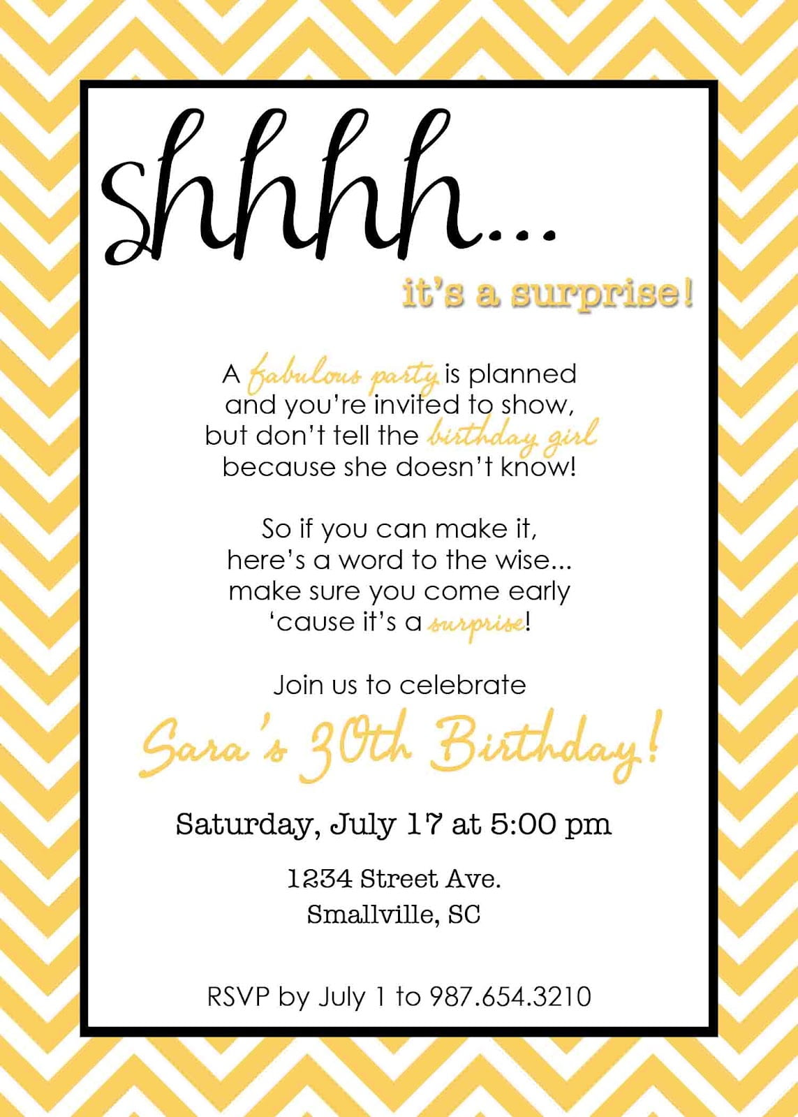 surprise party invite elegant invitations templates free doc