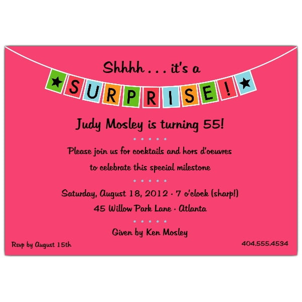 pink surprise birthday party invitations templates