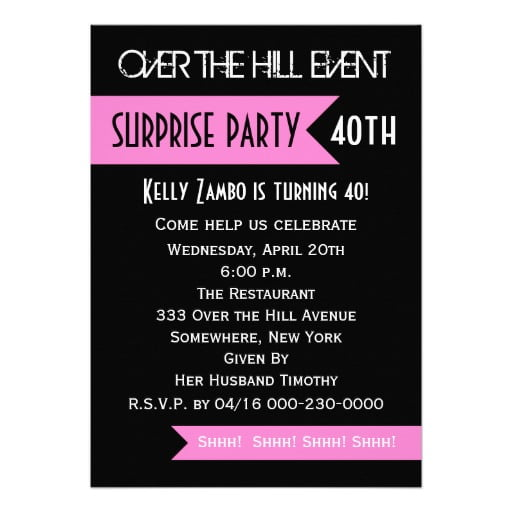 Surprise 40th birthday party invitations wording free invitation black pink surprise 40th birthday party invitations stopboris Image collections