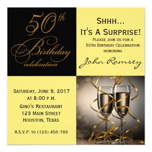 Gold Surprise 50th Birthday Party Invitations Wording