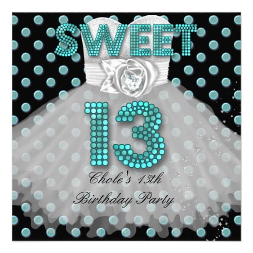 dress 13 years old birthday party invitations