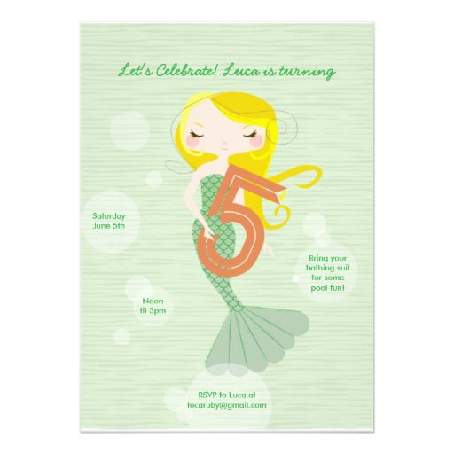 Mermaid 5 Years Old Birthday Invitations Wording