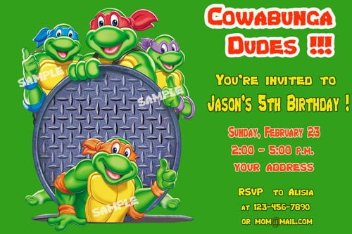 Free Printable Teenage Mutant Ninja Turtles Birthday Invitation