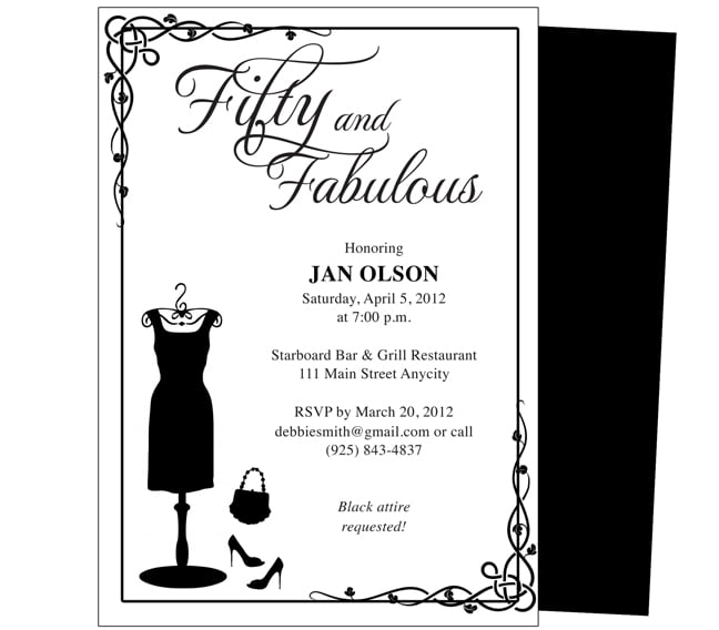 FREE Printable 50th Birthday Invitations For Women
