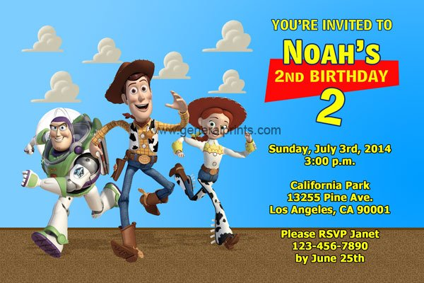 woody personalized toy story birthday invitations