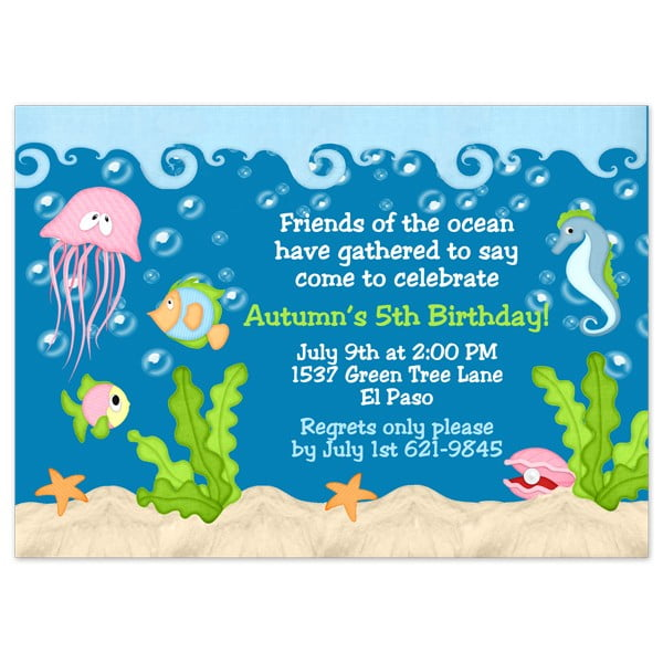 jellyfish under the sea birthday party invitations