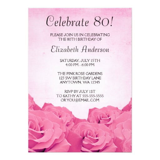 flowers free printable 80th birthday invitations