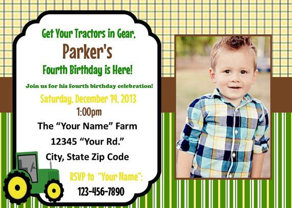 Kids John Deere Printable Birthday Invitations