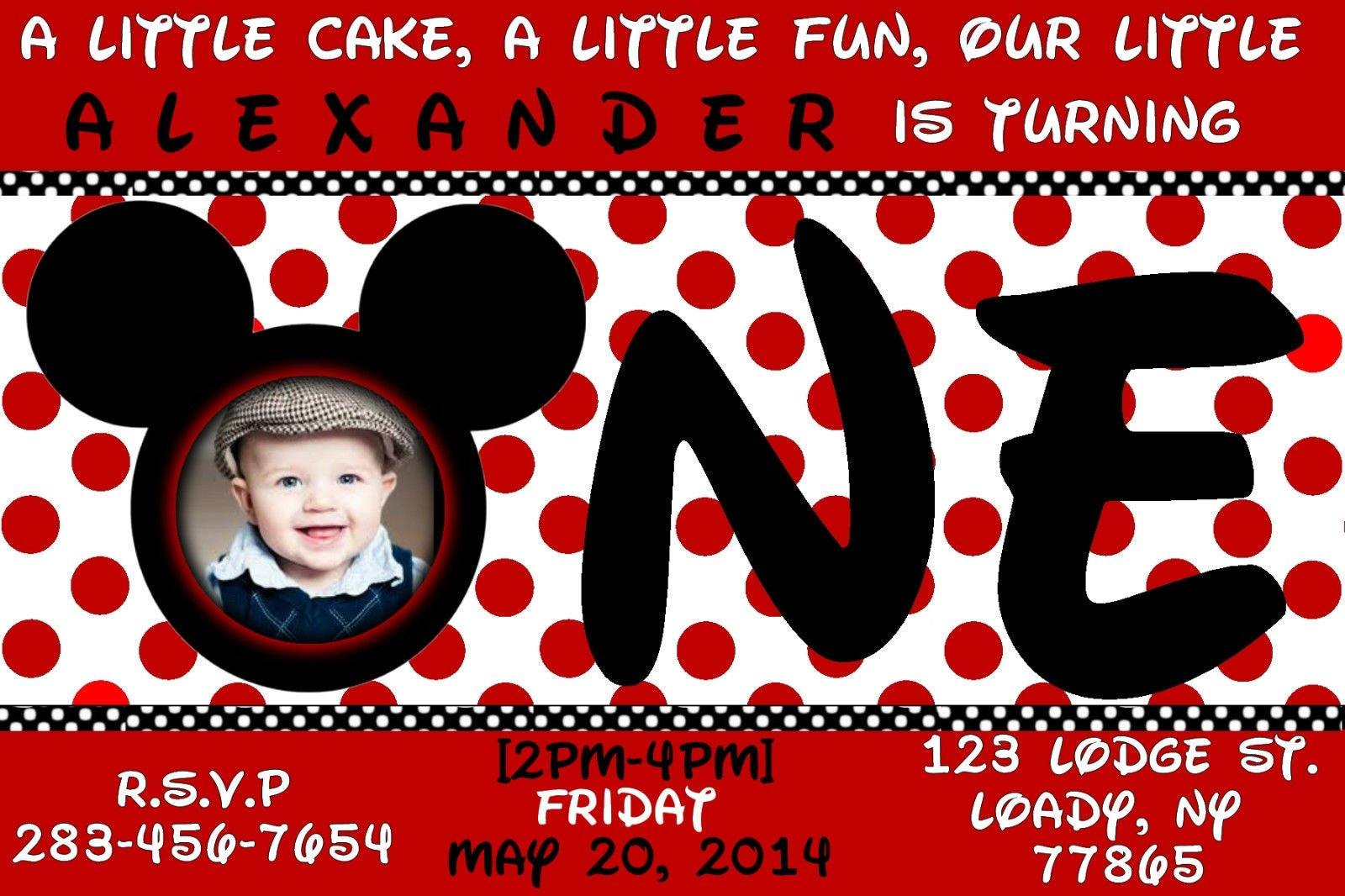 Red Card Mickey Mouse 1st Birthday Invitations
