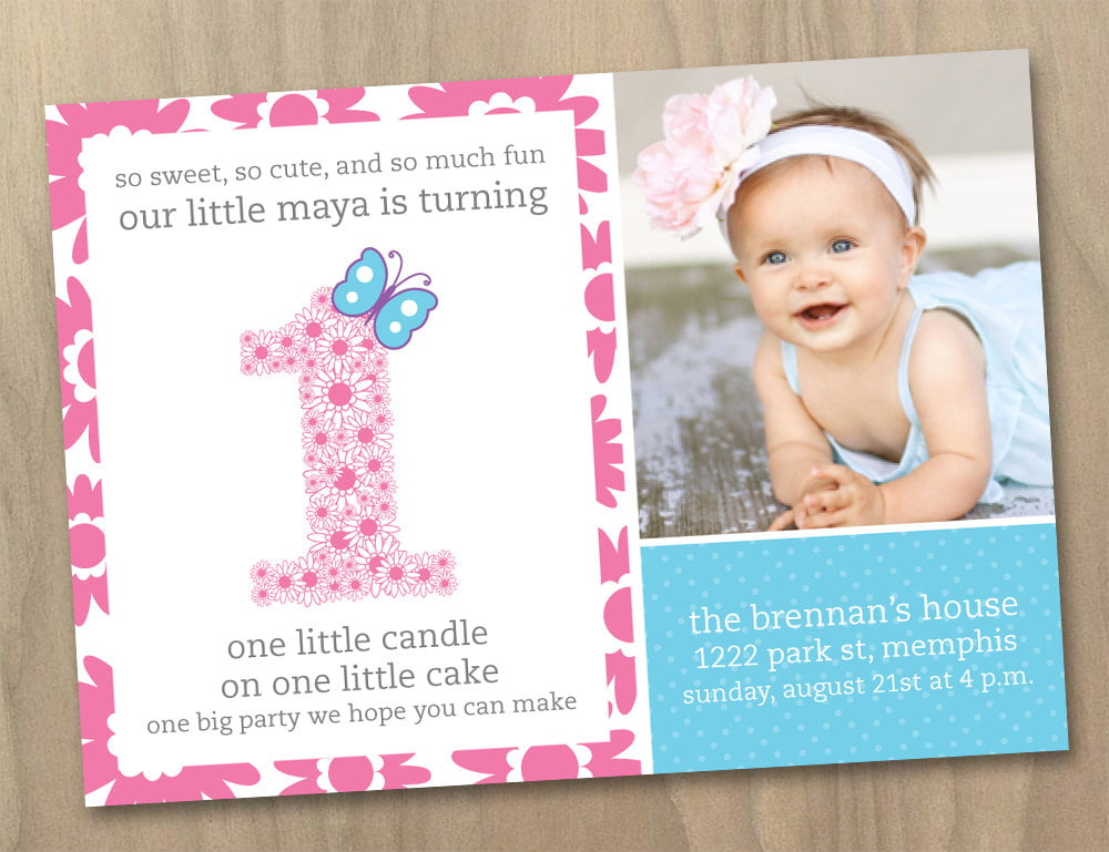 ribbon baby 1st birthday party invitations