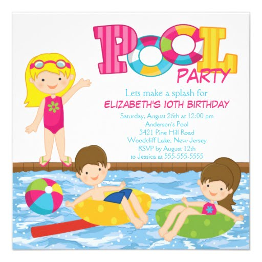 Free Printable Birthday Party Invitations Templates – Pool Party Invite Template