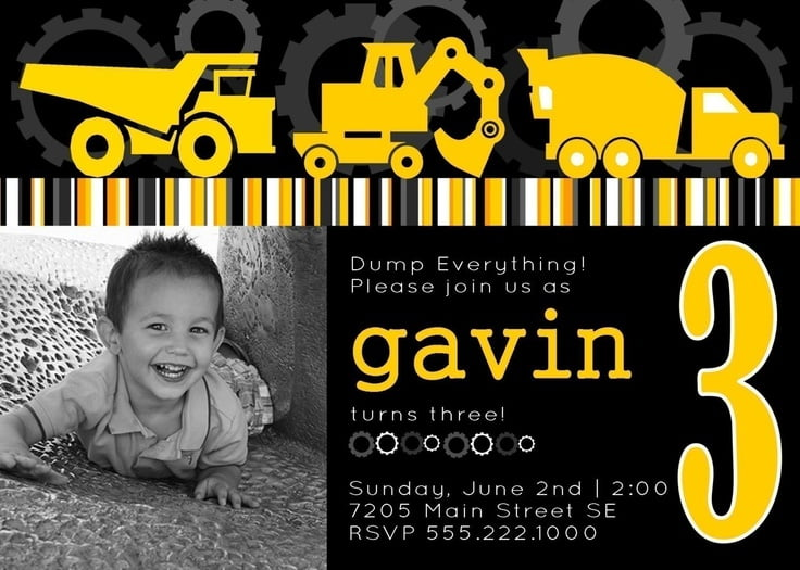 FREE Printable Dump Truck Birthday Party Invitations – Digger Party Invitations