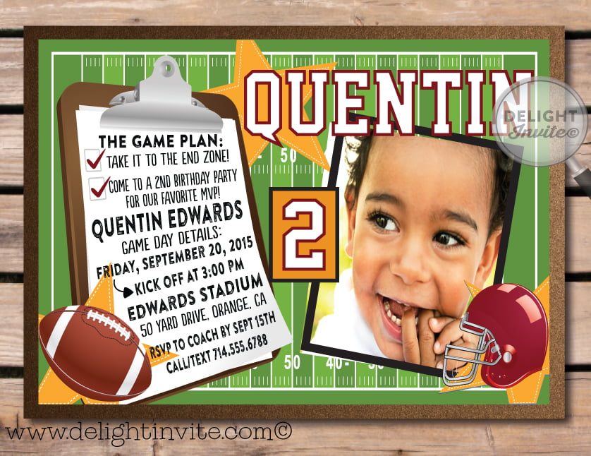 Helmet Print At Home Birthday Party Invitations