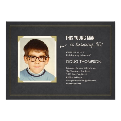 boy funny 50th birthday party invitations wording