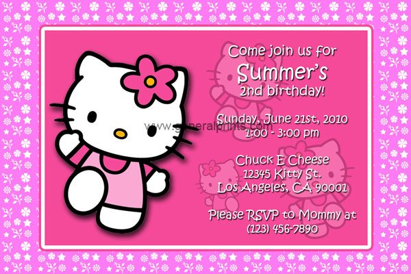 Hello Kitty Invitation Card Free Printable orderecigsjuiceinfo – Personalized Hello Kitty Birthday Invitations