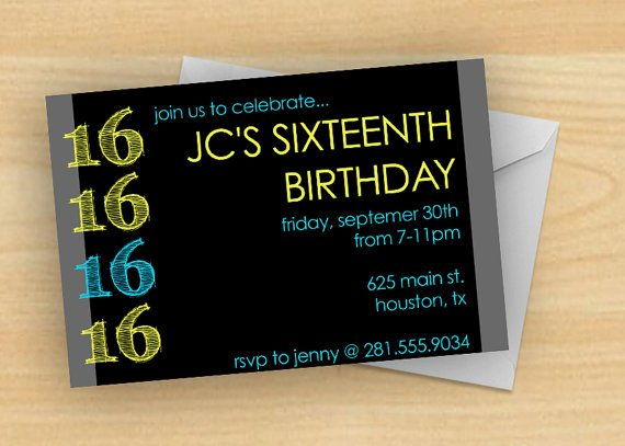 black 16th birthday invitations for boys