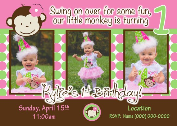 Monkey One Year Old Birthday Party Invitations