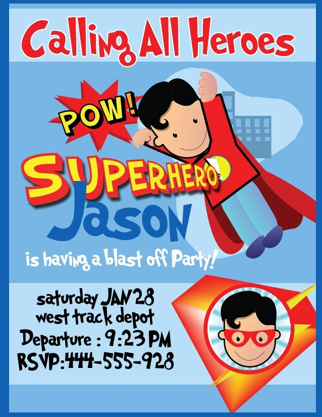 Superman Boy Free Evite Birthday Party Invitations