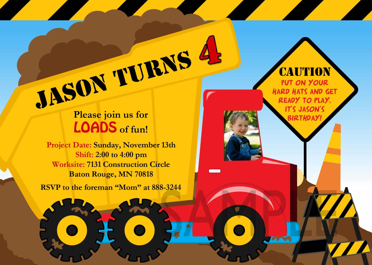 image about Free Printable Construction Birthday Invitations named Dump Truck Birthday Get together Invites @AW07