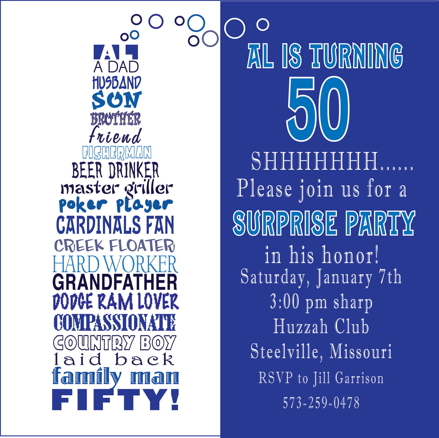 Funny 50th Birthday Party Invitations Wording