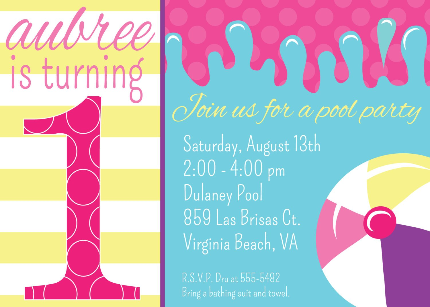swim float free 1st birthday invitations templates