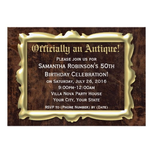 antique funny 50th birthday party invitations wording