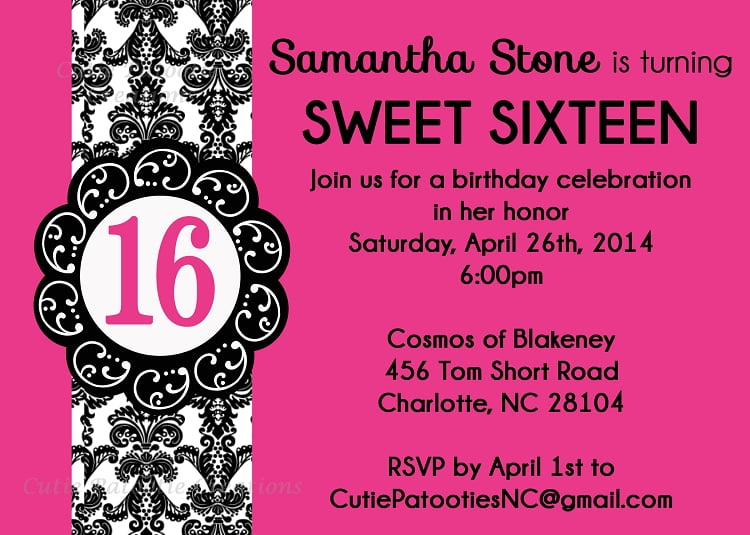 Sweet 16 Birthday Invitations Free Templates – Printable 16th Birthday Invitations