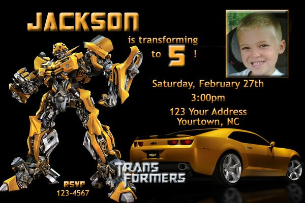 FREE Printable Transformers Bumble Bee Birthday Party Invitations
