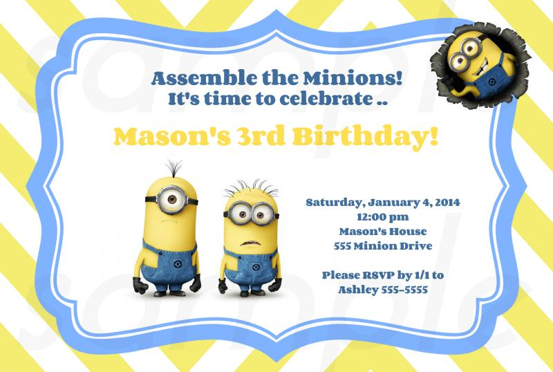 Simple Minion Birthday Party Invitations Minions Despicable Yellow