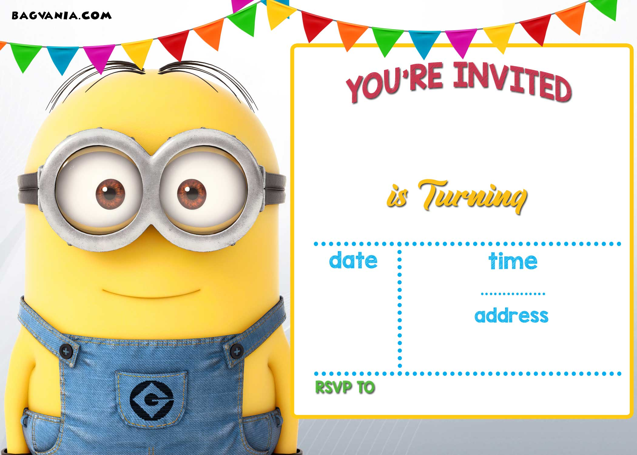 FREE Printable Minion Birthday Party Invitations Ideas Template ...