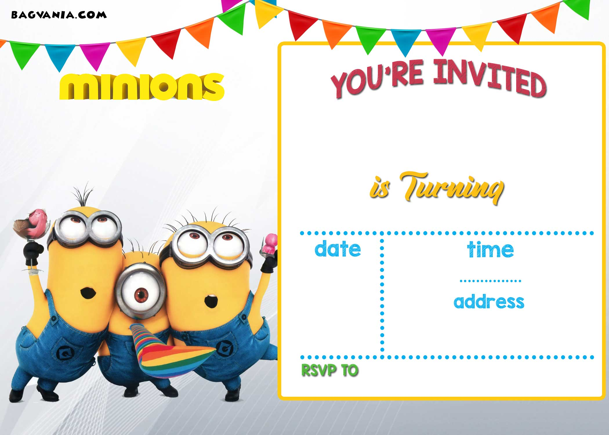 FREE Printable Minion Birthday Party Invitations Ideas Template - Birthday invitation simple wording