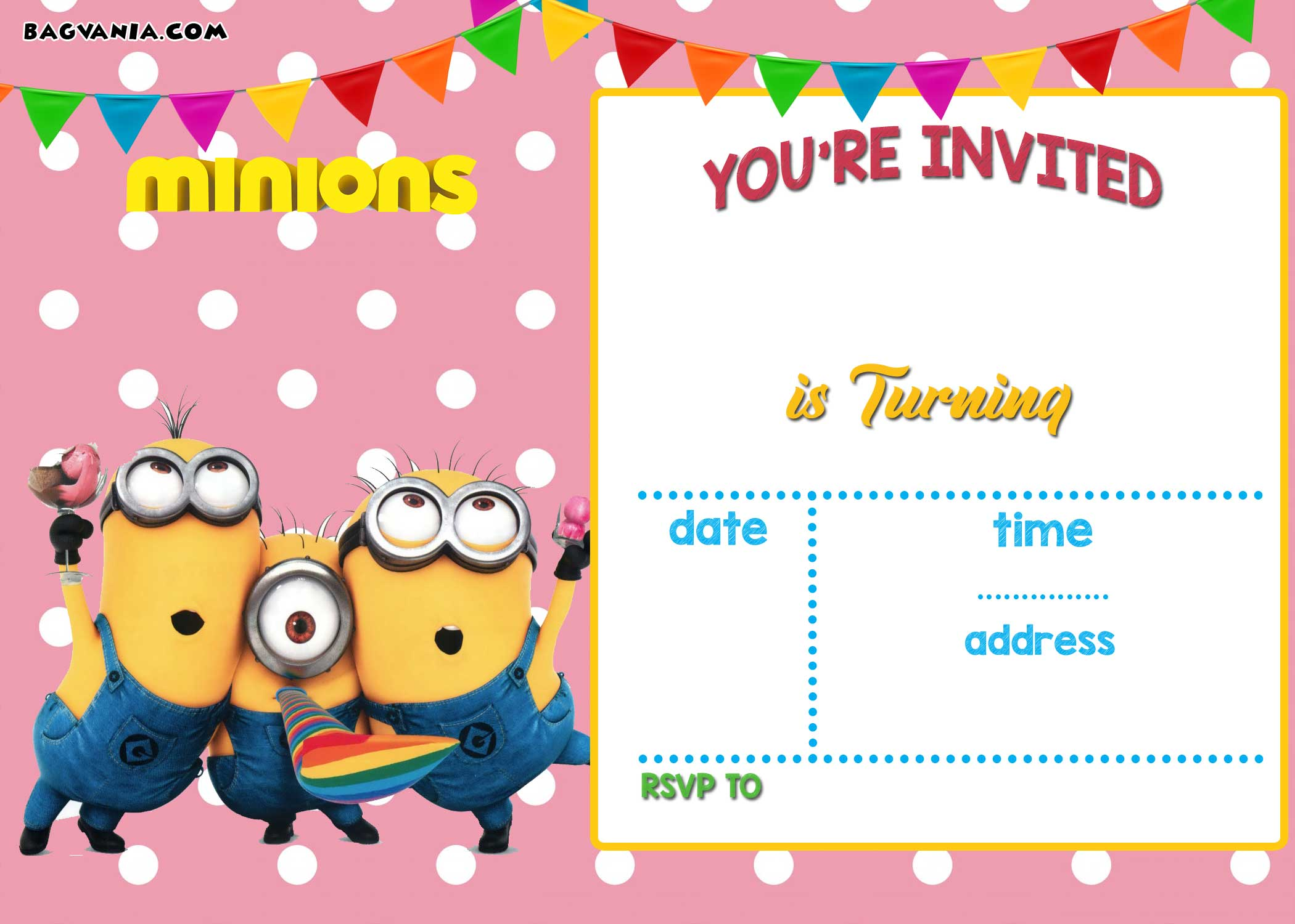 free printable minion birthday party invitations ideas template
