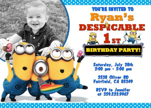 photograph regarding Free Printable Minion Invitations named Up to date! Bunch Of Minion Birthday Bash Invites Plans