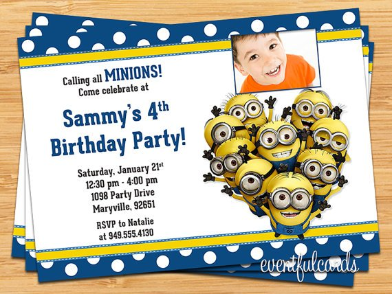 FREE Printable Minion Birthday Party Invitations Ideas Template – Kids Birthday Invitations Printable