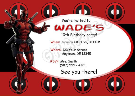 Free Printable Deadpool Birthday Invitation Template