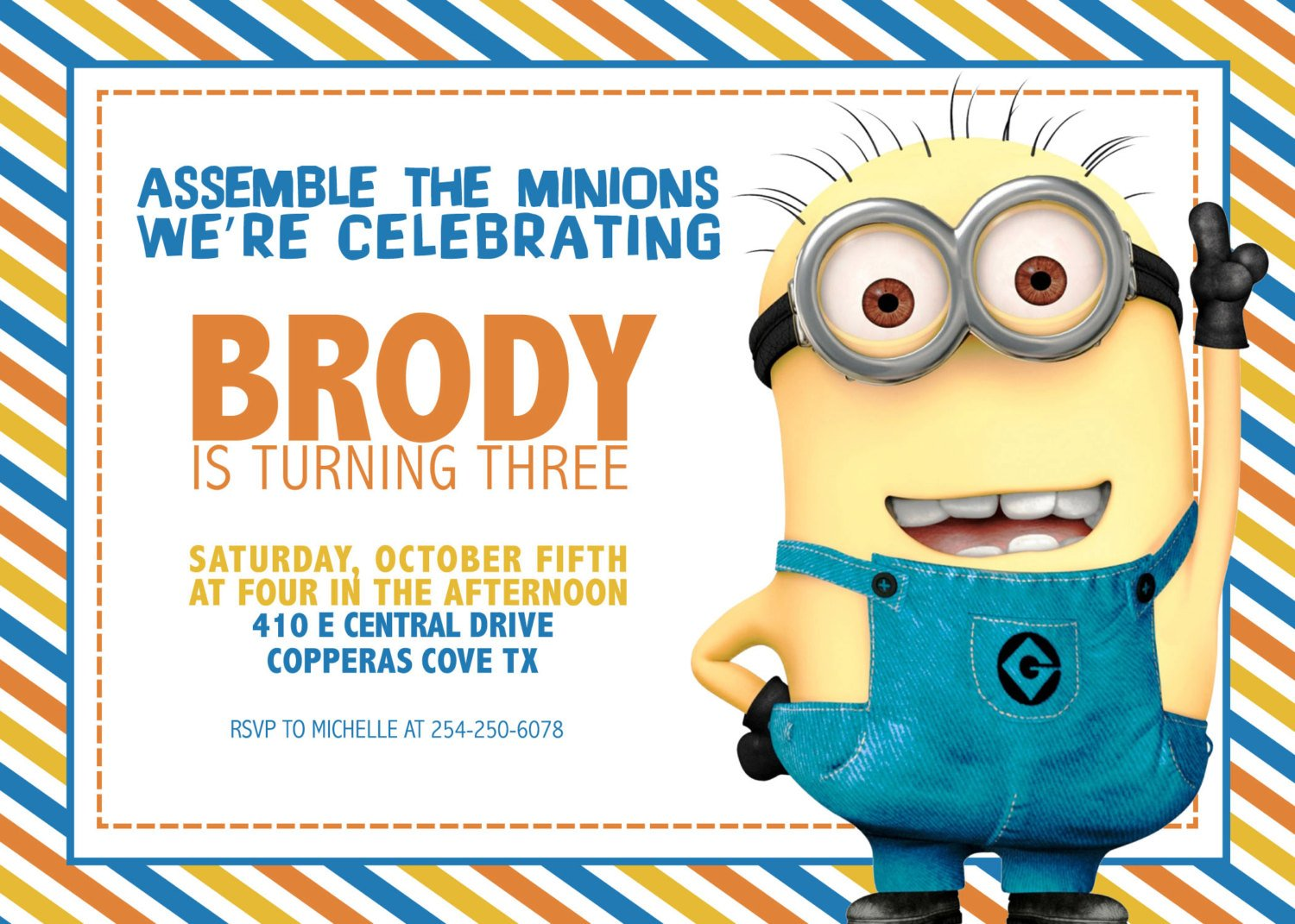 FREE Printable Minion Birthday Party Invitations Ideas Template | Drevio Invitations Design