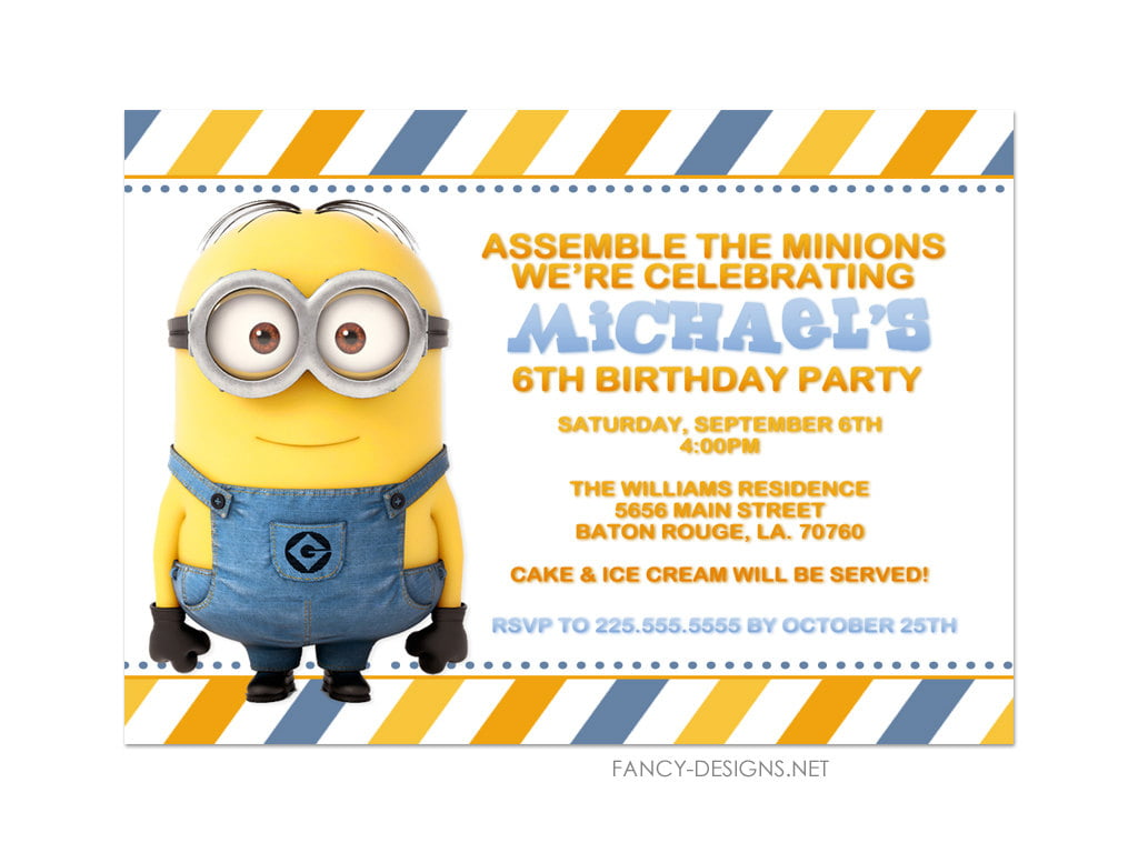 Minion Birthday Party Invitations Postage Edition