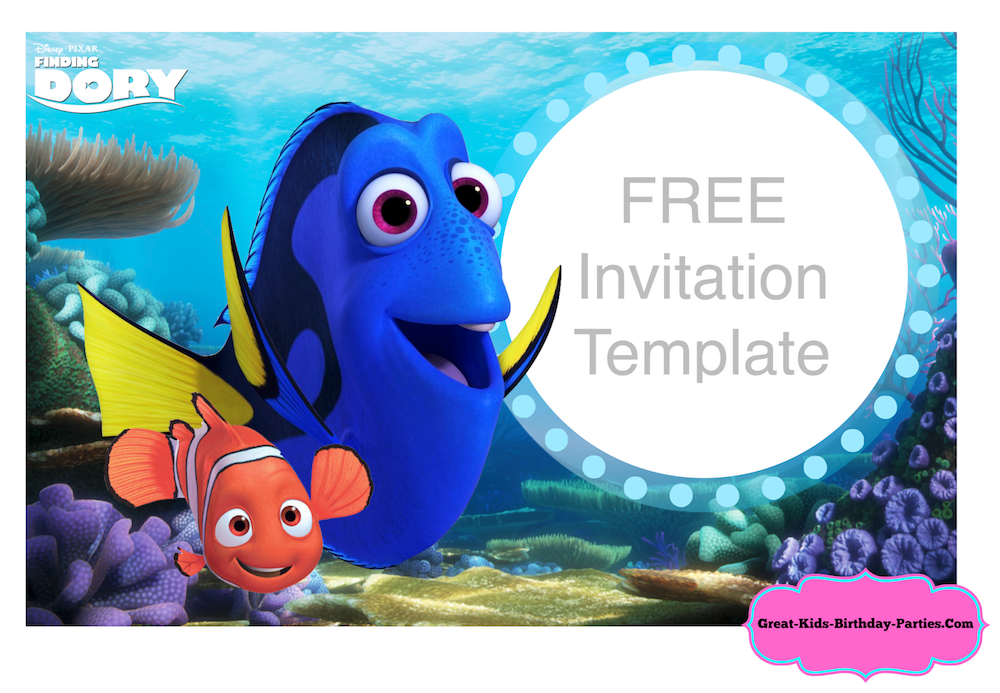 Finding Dory Invitation Template Nemo Birthday