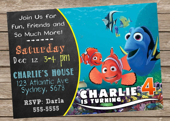 FREE Printable Finding Dory Invitations Ideas