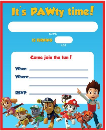 Blank Paw Patrol Birthday Invitation