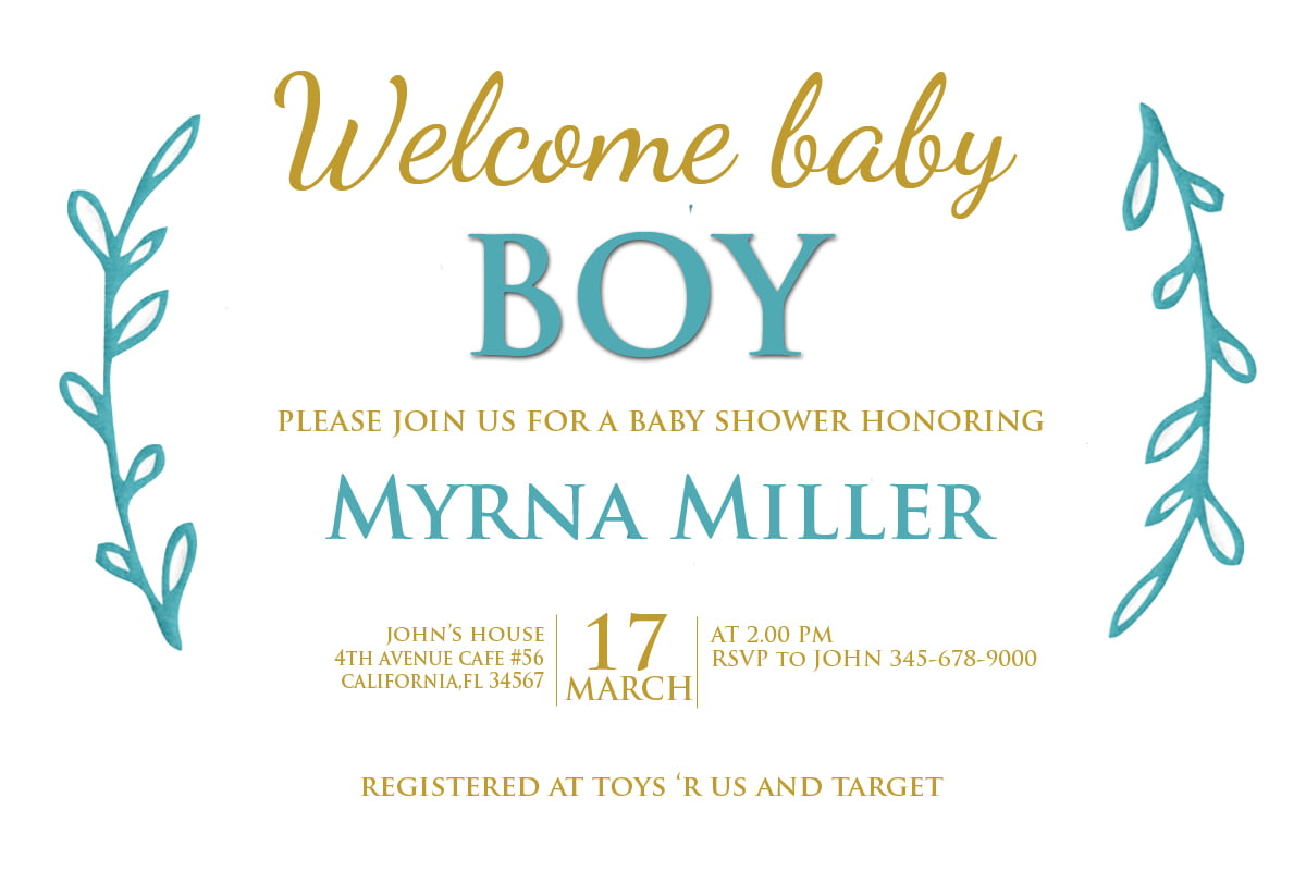 FREE Boho Baby Shower and Birthday Invitation PSD Download | Drevio ...