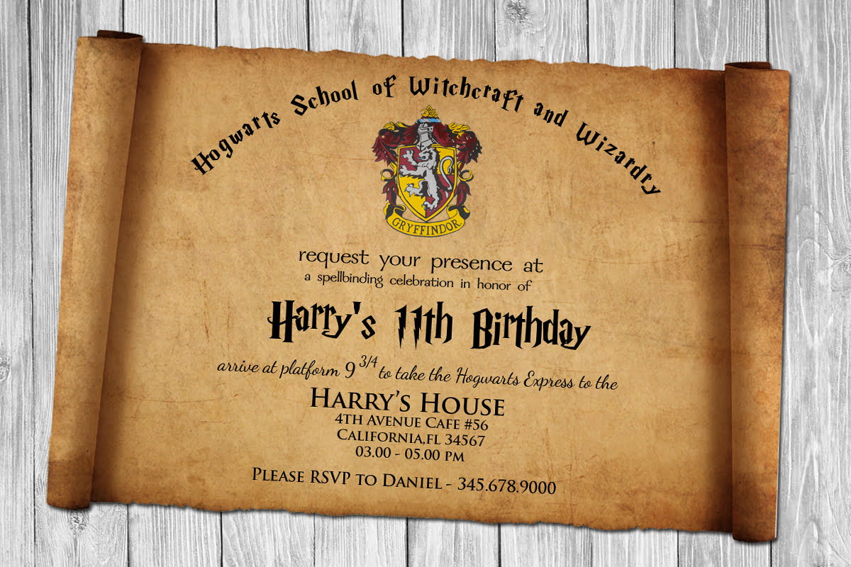 FREE Harry Potter Papyrus Style Birthday Invitation PSD Template - Birthday invitations harry potter printable