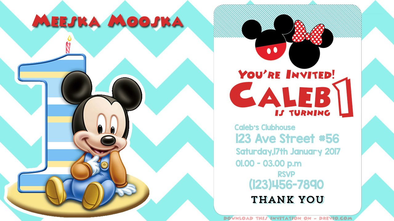 Free printable first birthday mickey mouse invitation psd drevio 1st printable mickey mouse psd download stopboris Choice Image