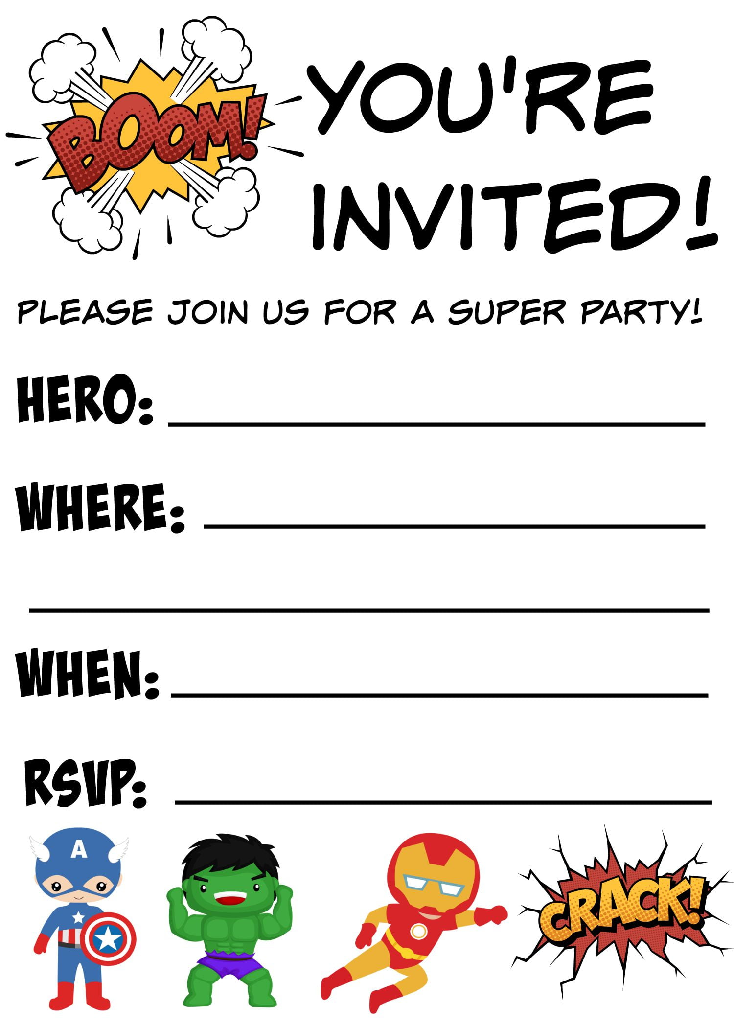 12+ FREE Printable Blank Superhero Birthday Invitation ...