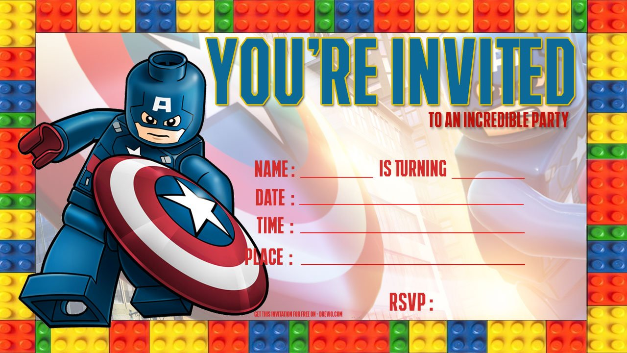 Free LEGO Captain America Birthday Invitation Template Drevio - Lego birthday invitation template free