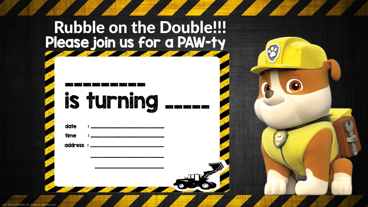 Free Printable Rubble Paw Patrol Invitation Template | Drevio ...