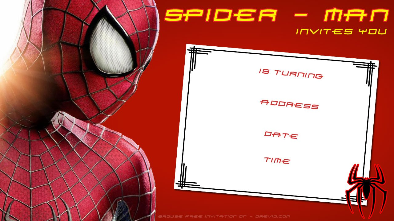 Blank Spiderman Birthday Invitation