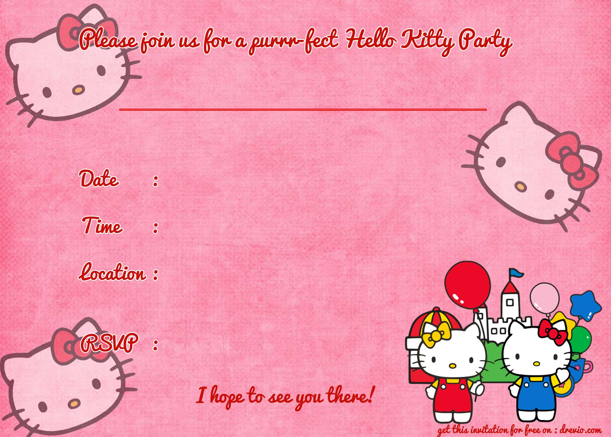 FREE Printable Hello Kitty Birthday Invitation Template | Drevio Invitations Design