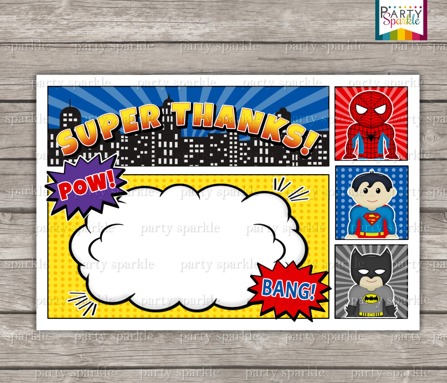 12 FREE Printable Blank Superhero Birthday Invitation Template